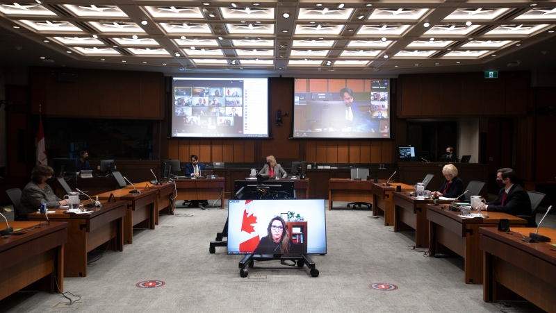 Katie Telford is seen on a television before appearing as a witness before the House of Commons Defence committee in Ottawa, Friday May 7, 2021. THE CANADIAN PRESS/Adrian Wyld