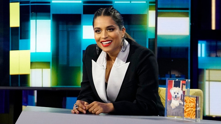 "This image released by NBC shows Lilly Singh, host of ""A Little Late with Lilly Singh."" (Scott Angelheart/NBC via AP)"