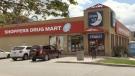 The Shoppers Drug Mart at Oxford and Adelaide streets in London, Ont. is seen Friday, May 7, 2021. (Jim Knight / CTV News)