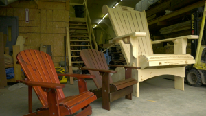 A Best Adirondack Chair Company eight foot chair beside the normal side Royal Rideau Chair. (Nate Vandermeer/CTV News Ottawa)