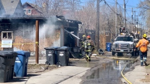 The Winnipeg Fire Paramedic Service was called to a fire on Maryland Street on Friday, May 7, 2021. (Scott Andersson/CTV News)