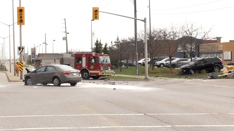A crash in south London, Ont. sent two people to hospital on Friday, May 7, 2021. (Jim Knight / CTV News)