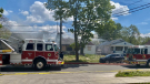 Fire crews responded to a house and garage fire in the 3500 block of Peter Street in Windsor, Ont. on Friday, May 7, 2021. (OnLocation/Twitter)