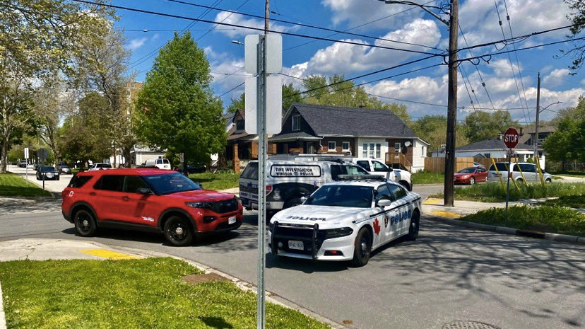 Windsor police were on scene of a house and garage fire in the 3500 block of Peter Street in Windsor, Ont. on Friday, May 7, 2021. (OnLocation/Twitter)