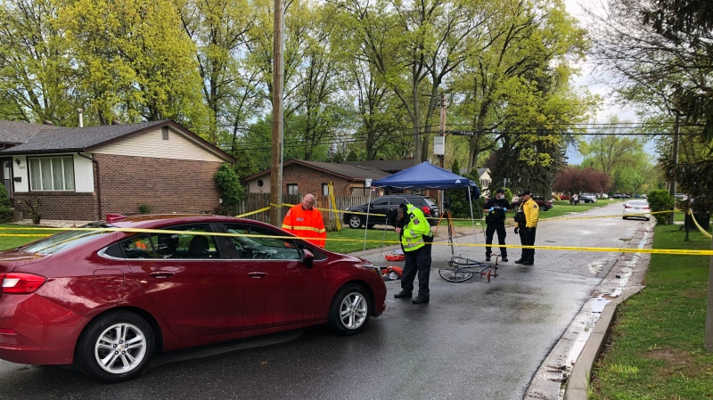 A cyclist was struck by a vehicle on Todd Lane in LaSalle, Ont. on Friday, May 7, 2021. (Angelo Aversa/CTV Windsor)