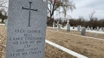 A permanent headstone on the grave of a veteran in Swift Current's Mount Pleasant Cemetery (Cole Davenport/CTV Regina)