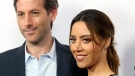 "FILE - In this Monday, June 19, 2017,, file photo, Aubrey Plaza, right, and Jeff Baena arrive at the premiere of ""The Little Hours"" at the 2017 Los Angeles Film Festival in Culver City, Calif. (Photo by Willy Sanjuan/Invision/AP, File)"