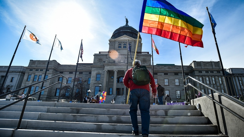 Montana Gov. Greg Gianforte signed the transgender measure on Friday. Credit: Thom Bridge/AP