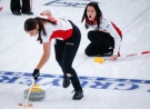 Team Canada skip Kerri Einarson, right, makes a shot as second Shannon Birchard sweeps against China at the Women's World Curling Championship in Calgary, Alta., Friday, May 7, 2021.THE CANADIAN PRESS/Jeff McIntosh