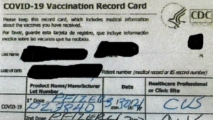 Arrest in fake COVID-19 vaccination card case