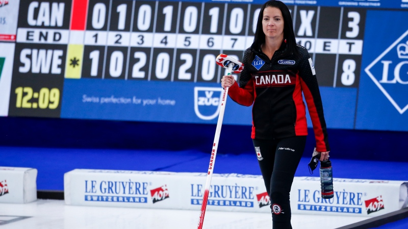 Canada skip Kerri Einarson leaves the ice after being defeated by Sweden in a qualification game at the Women's World Curling Championship in Calgary, Alta., Saturday, May 8, 2021. THE CANADIAN PRESS/Jeff McIntosh