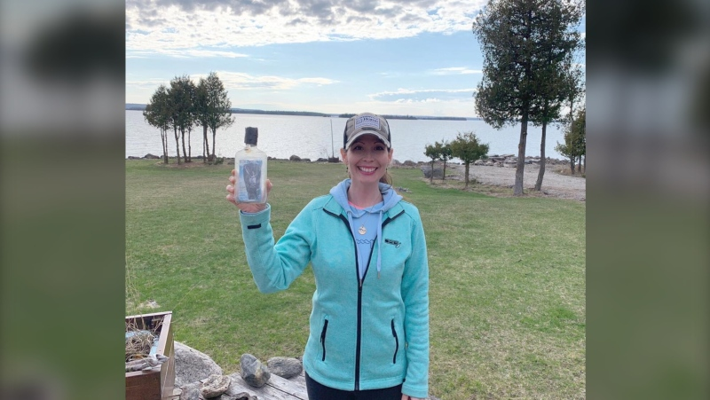 Shandelle Carrigan discovered the bottle while taking a walk along the shoreline.  She has since reached out to Brandon's family.  May 8/21 (Supplied)