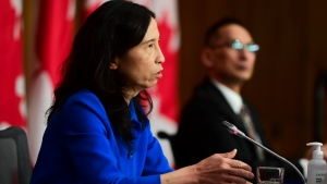 Chief Public Health Officer Dr. Theresa Tam and Dr. Howard Njoo, Deputy Chief Public Health Officer, hold a press conference during the COVID-19 pandemic in Ottawa on Friday, Dec. 18, 2020. THE CANADIAN PRESS/Sean Kilpatrick