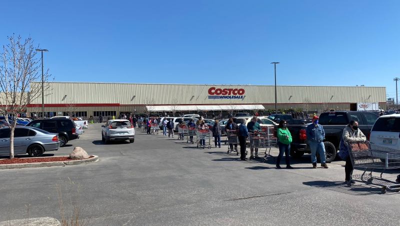 A long line could be seen outside this Winnipeg Costco on Saturday, May 8. (Source: CTV News/Zach Kitchen)