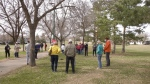 "Riversdale residents gathered for a physically distanced ""save our park"" event in Optimist Park on Saturday. (Miriam Valdes-Carletti/CTV News)"