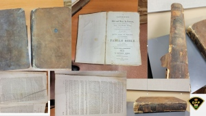 Ontario Provincial Police say the owner of these Bibles from the 1700s has come forward to reclaim them after they were submitted to police as 'found property' May 4, 2021. (OPP handout photo)