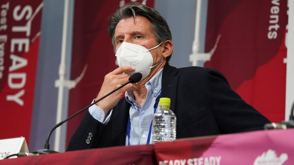 Sebastian Coe at a press conference