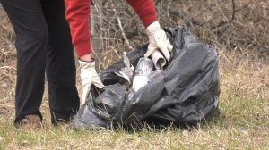 With a lack of cleanup events during the pandemic, the Wintergreen Fund for Conservation thought it high time for a COVID-safe call to action — by asking the community to pick up trash on their daily walks Saturday. May 9/21 (Sergio Arangio/CTV News Northern Ontario)