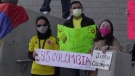 Saskatoon's Colombian community brings awareness to civil unrest in their home country. (Tyler Barrow/CTV Saskatoon)