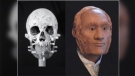 Facial reconstruction of individual identified through DNA analysis as John Gregory, HMS Erebus. (Diana Trepkov/ University of Waterloo)