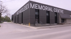 Strathroy, Ontario's West Middlesex Arena on May 9, 2021. (Brent Lale/CTV London)