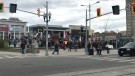 Over 100 people gather in Uptown Waterloo for an anti-lockdown rally. (Johnny Mazza/CTV Kitchener) (May 9, 2021)