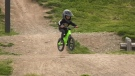Kashius Weme, age 2, rides his bike at Steve Smith Memorial Bike Park.