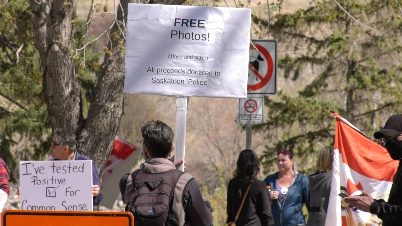 People's Party of Canada leader Maxime Bernier spoke at an anti-health order rally in Saskatoon on May 9. (Ryan Fletcher/CTV Saskatoon)