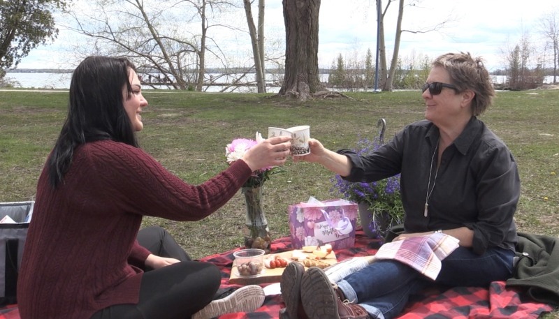 Alex Wright and her mother Carol Wright celebrate Mother's Day with a picnic in Innisfil, Ont. on Sun. May 9, 2021 (Siobhan Morris/CTV News)