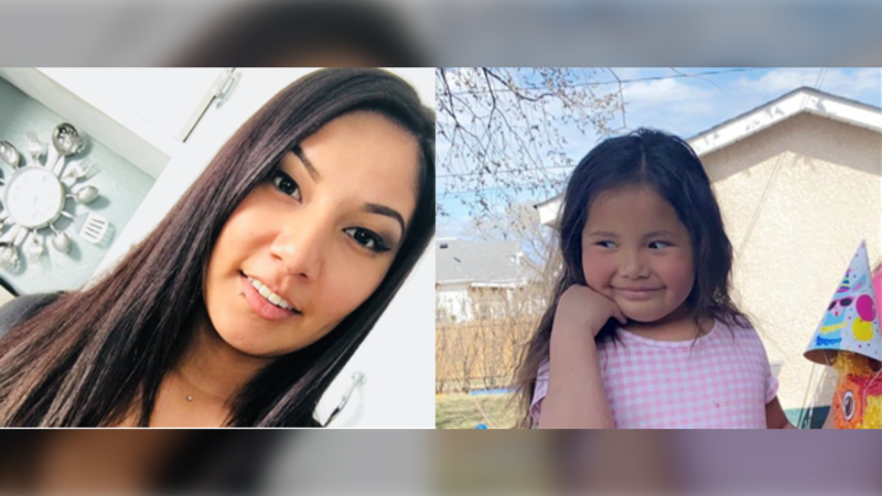 Amanda Orgeron-Apetagon (left) was last heard from on May 6 when she picked up her daughter Mia Orgeron-Meeches (right). (Source: Brandon Police Service)