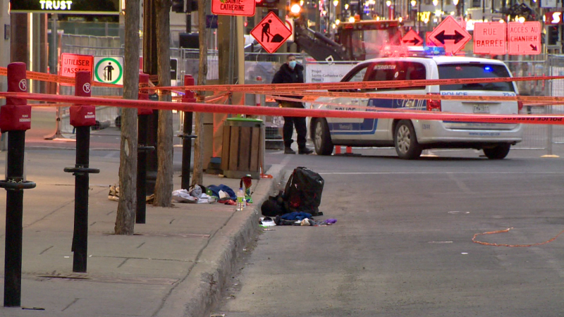 Five people are in custody after a stabbing left a man in critical condition on Sun., May 9, 2021. (Photo: CTV Montreal/Cosmo Santamaria)