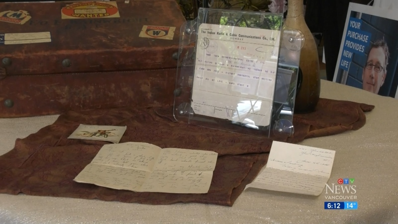 The collection of personal effects, including documents and a suitcase, dates to the mid-1940s, and includes correspondence between people who were deployed at the time. (CTV)