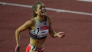 Julie-Anne Staehli reacts after winning the women's 5000-metre run during the USATF Golden Games athletics meet at Mount San Antonio College Sunday, May 9, 2021, in Walnut, Calif. (AP Photo/Ashley Landis)