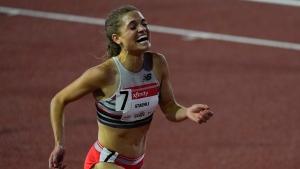Julie-Anne Staehli reacts after winning the women's 5000-metre run during the USATF Golden Games athletics meet at Mount San Antonio College Sunday, May 9, 2021, in Walnut, Calif. (AP Photo/Ashley Landis)