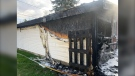 Garage fire at home on Laval Street near the South End of Greater Sudbury. May 10/21 (Jesse Oshell)