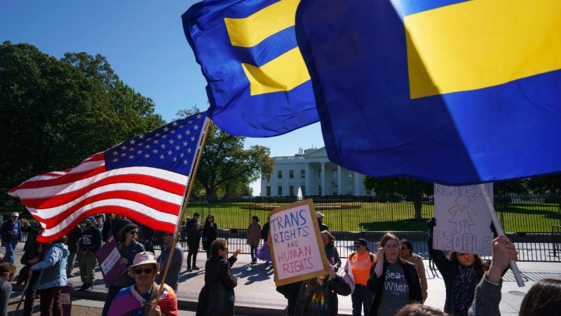 Gathering for a #WontBeErased rally in front of the White House in Washington, on Oct. 22, 2018. (Carolyn Kaster / AP)