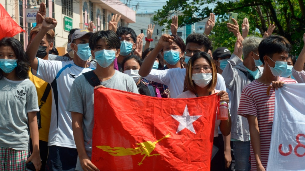 Anti-coup protesters in Bahan township in Yangon
