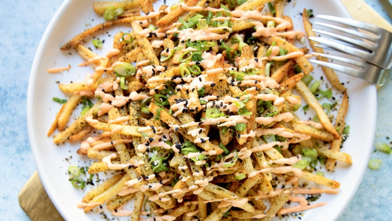 Tokyo Street Fries from the book Hot for Food All Day: Easy Recipes to Level Up Your Vegan Meals by Lauren Toyota