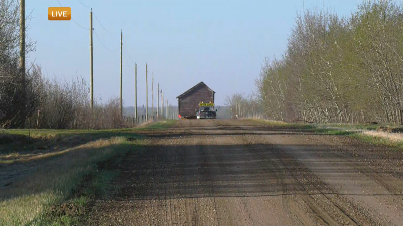 A shed from an Alberta Lumber Company series was transferred on May 10, 2021, to the Ukrainian Cultural Heritage Village where the rest of the pieces were.