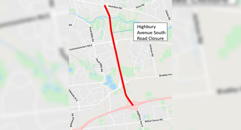 Highbury Avenue will be closed from Hamilton Road to Highway401 on Tuesday, May 11, 2021.