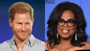 """Prince Harry, Duke of Sussex speaks at """"Vax Live: The Concert to Reunite the World"""" in Inglewood, Calif. on May 2, 2021, left, and Oprah Winfrey appears at the 75th annual Golden Globe Awards in Beverly Hills, Calif. on Jan. 7, 2018. Winfrey and Prince Harry are teaming up for a series that will delve into mental health issues and feature segments from athletes and stars like Lady Gaga and Glenn Close. The streaming service Apple TV+ plus announced Monday that the multi-part documentary series """"The Me You Can't See"""" will debut on May 21. (AP Photo)"""