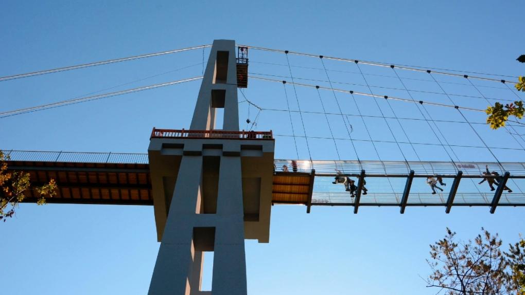 Glass-bottomed suspension bridge in Jilin, China