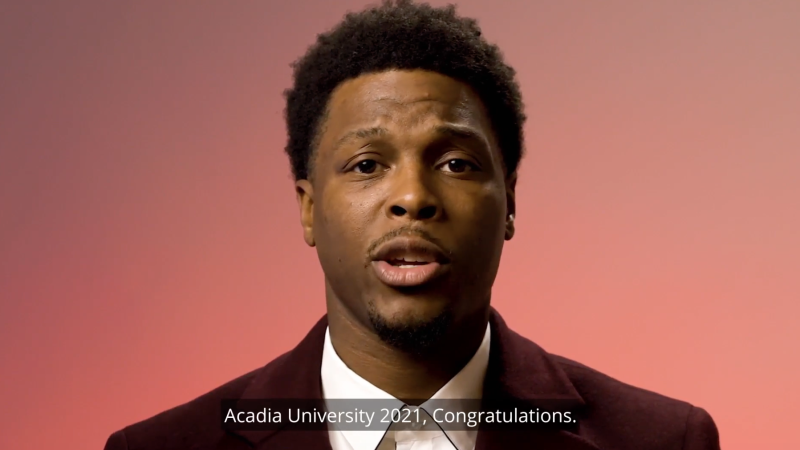 Toronto Raptor Kyle Lowry congratulated students for navigating their studies through the COVID-19 pandemic as he received an honorary doctorate from Nova Scotia's Acadia University on Sunday. (Photo via Acadia University)