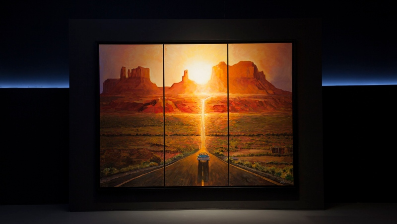 "This picture provided and painted by Bob Dylan in 2019 in called ""Sunset, Monumet, Valley"". The largest collection of Bob Dylan's artwork ever seen will go on display later this year in the U.S. ""Retrospectum"" spans six decades of Dylan's art, featuring more than 120 of the artist's paintings, drawings and sculptures. Building on the original ""Retrospectum"" exhibition that premiered in Shanghai, China, in 2019, the new version will include new, never-before-seen pieces and additional artworks from a brand-new series called ""American Pastoral."" (Bob Dylan via AP)"