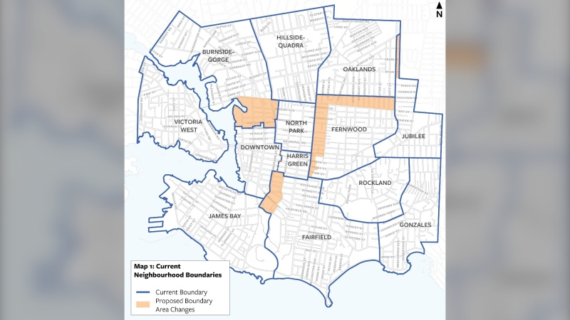 Proposed changes to neighbourhood boundaries are shown: (City of Victoria / Twitter)