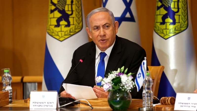 Israeli Prime Minister Benjamin Netanyahu attends a special cabinet meeting on the occasion of Jerusalem Day, at the Jerusalem Municipality building, in Jerusalem, Sunday, May 9, 2021. (Amit Shabi/Pool Photo via AP)