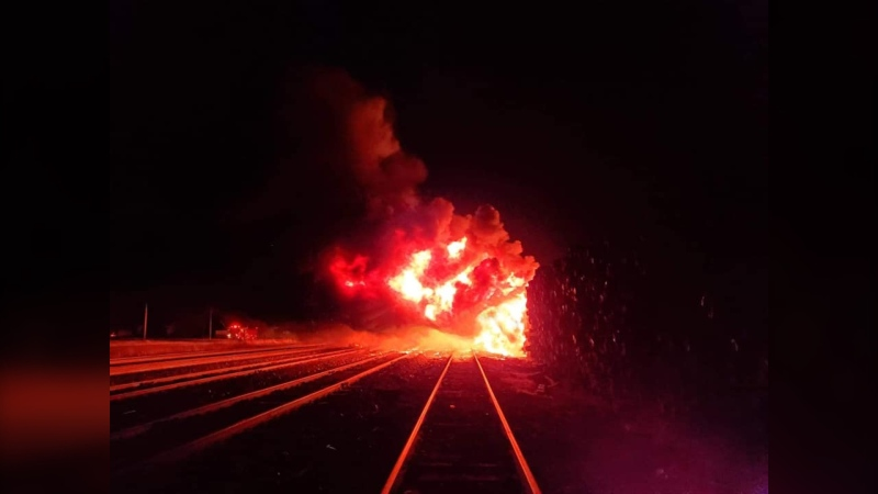 A railroad tie fire burns in Portage la Prairie, Man. on May 9, 2021 (Image source-  Facebook: Portage la Prairie Professional Firefighters Local 1079)