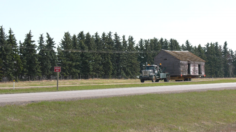 The Alberta Lumber Company's missing coal shed was moved some 30 kilometres across Lamont County to Ukrainian Cultural Heritage Village on May 10, 2021.
