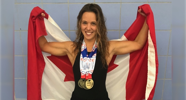 Jillian Best poses at the World Transplant Games with her five gold medals in 2019.