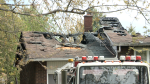 Aftermath from an early afternoon fire at a home in Greely where a man suffered serious burns to his hands on Monday, May 10, 2021
